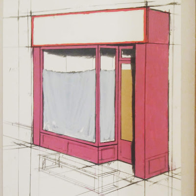 Technical drawing of a storefront window, the same one as is seen in the photographs above.