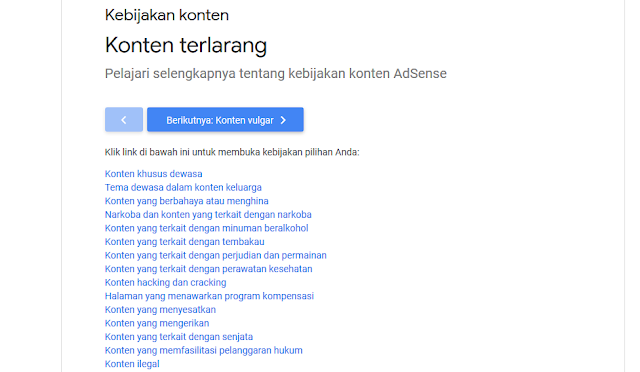 Konten apa saja yang dilarang Google Adsense ?
