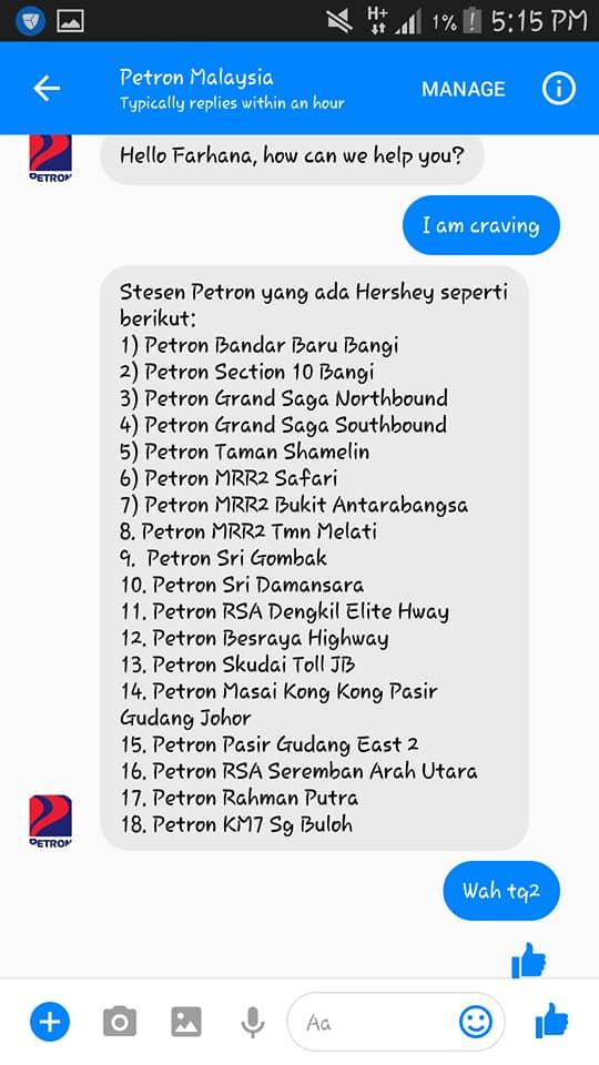 Senarai 15 Stesen Petron Jual Air Hershey's Freeze