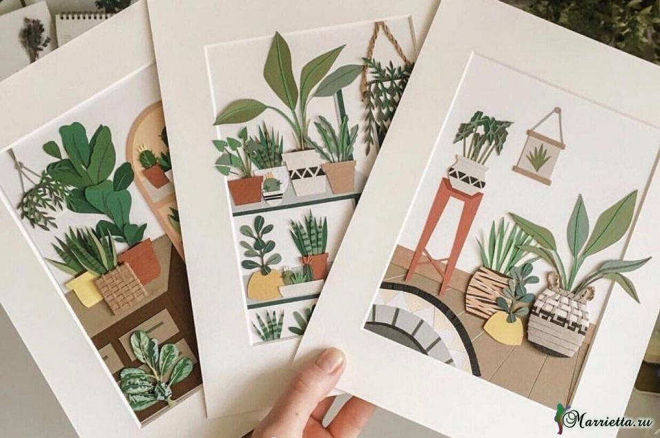 Комнатные цветы и растения из бумаги. Панно своими руками (4)