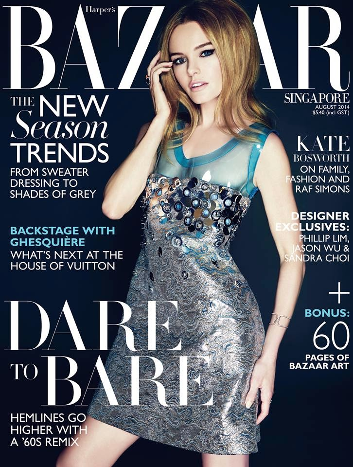 Kate Bosworth covers Harper's Bazaar Singapore August 2014 in a Miu Miu dress