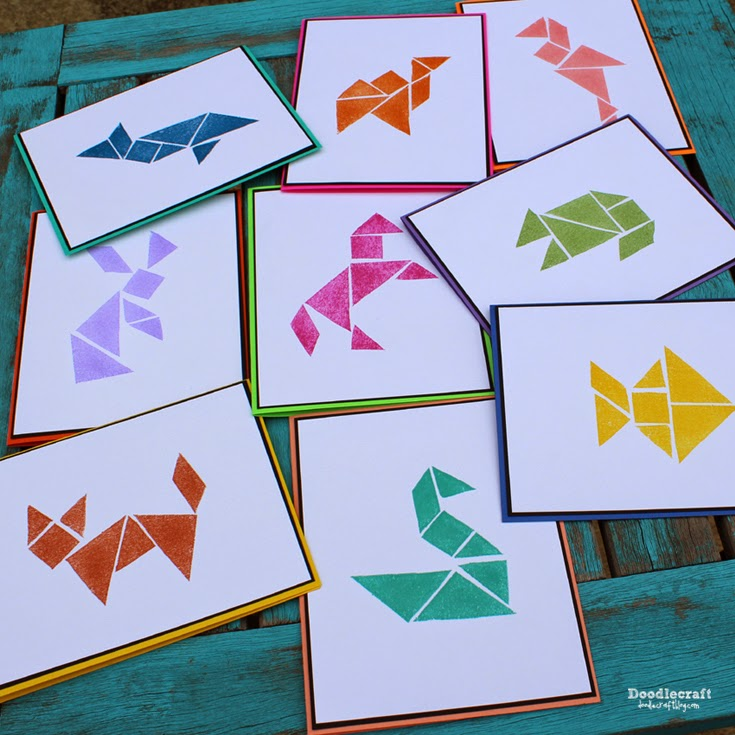 Doodlecraft: Tangram Rubber Stamps DIY