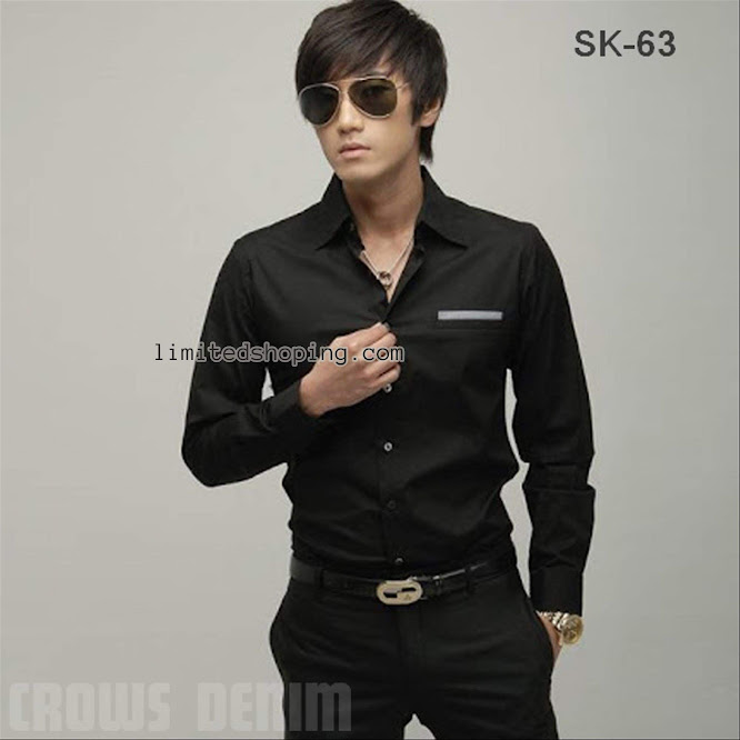 limited shoping kemeja hitam korean sk63