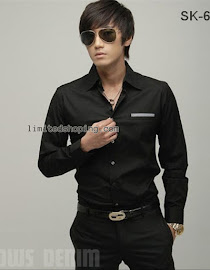 limited shoping kemeja hitam korean sk63