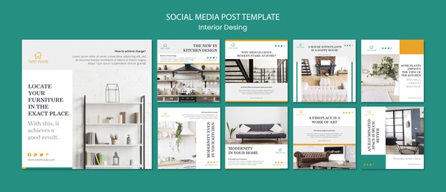 Instagram post collection for interior design Free Psd