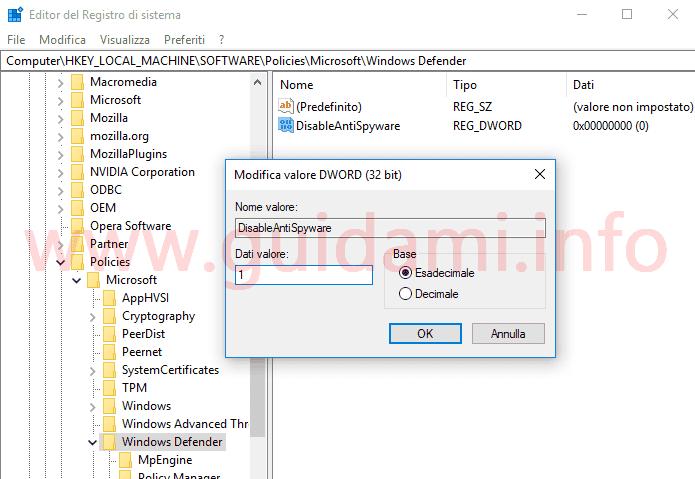 Disattivare Windows Defender da Editor del Registro di sistema