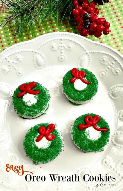 Easy holiday cookie recipe - chocolate covered Oreo wreath cookies.