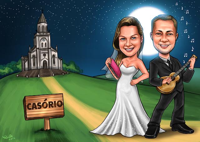 caricatura noivinhos jundiai casamento sp