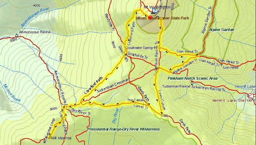 Live free and hike a nh day hikers blog september 2011 a great example of one of johns 2d map highlighting his route for his trip report publicscrutiny Choice Image