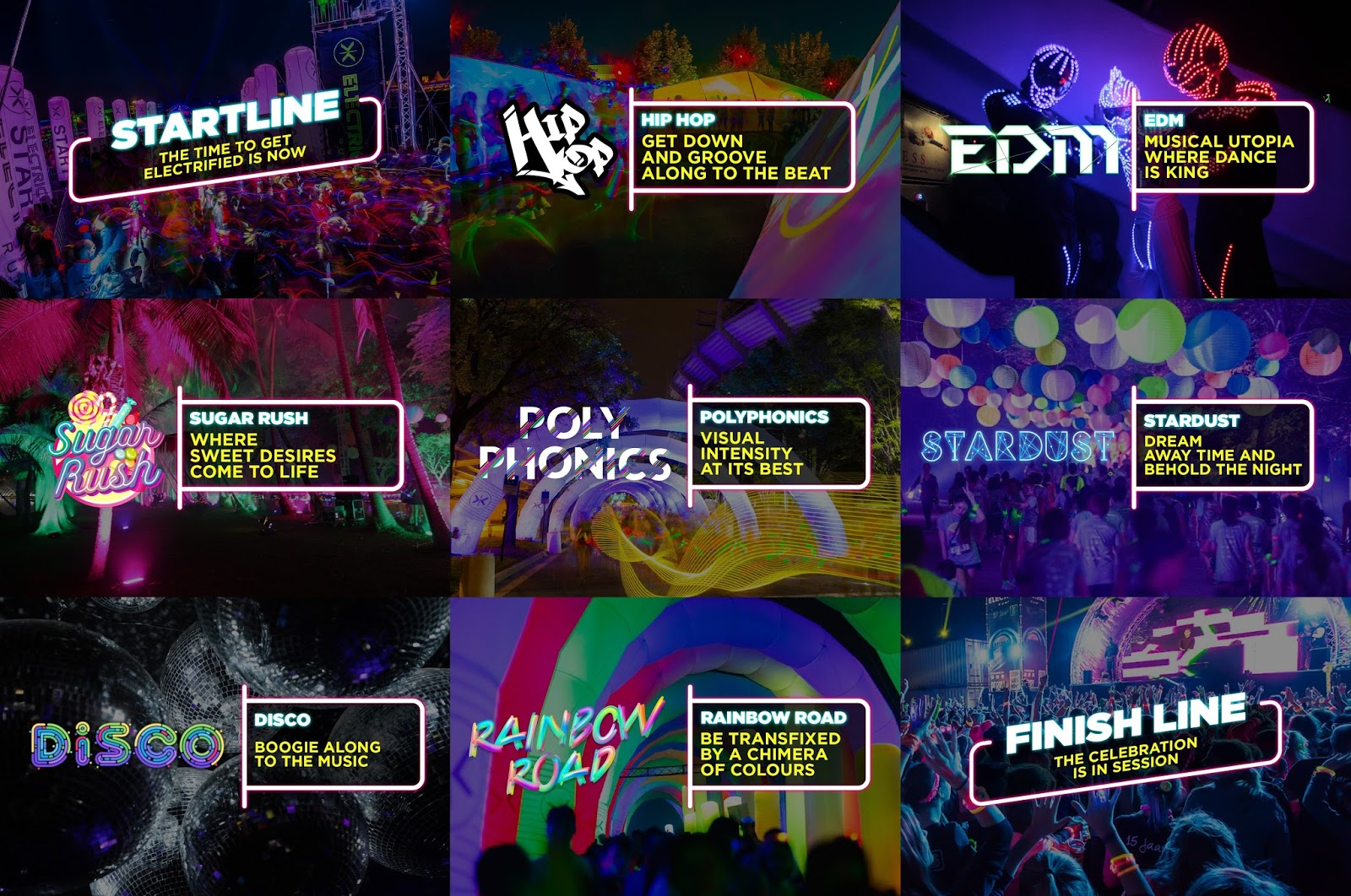 Also The Run This Year Will Feature Nine New Music Filled Course Lands Including Start Line Hip Hop Edm Sugar Rush Polyphonics Stardust Disco