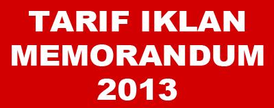 Tarif Iklan Memorandum 2013