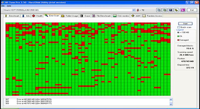 HD tune serve para verificar se o HD tem bad blocks no disco rígido