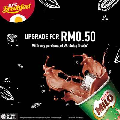 KFC Breakfast Weekday Treats RM0.50 Milo
