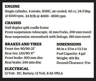 Specifications of Royal Enfield Himalayan.