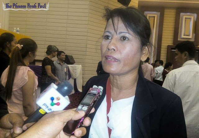 Toch Ser, the newly elected Free Trade Union president, talks to the media last month at a union congress in Phnom Penh. Sen David