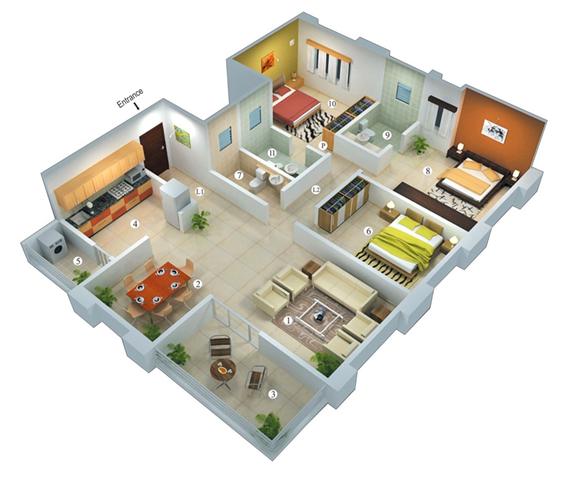 Rumah Minimalis 1 Lantai 3 Kamar Tidur  1001+ Desain Rumah Minimalis