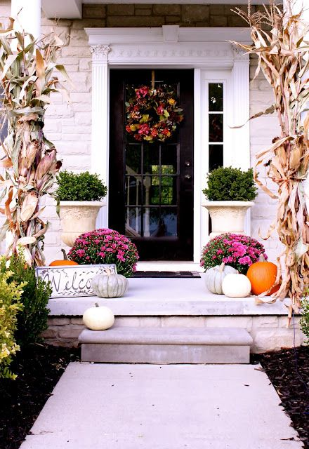 Bright colored fall porch