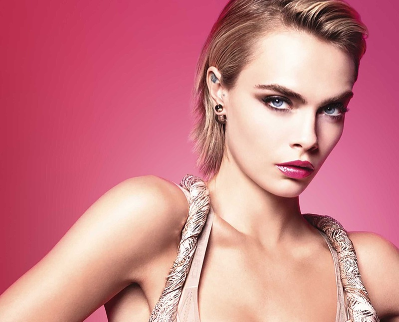 Cara Delevingne Looks Pretty in Pink for Dior Addict Stellar Shine Ad