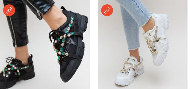 Adidasi dama noi 2019 moderni negri, albi la moda ieftini