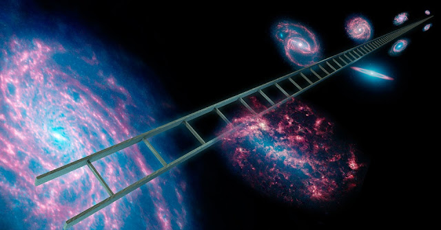 The cosmic distance ladder, symbolically shown here in this artist's concept, is a series of stars and other objects within galaxies that have known distances. Image credit: NASA/JPL-Caltech