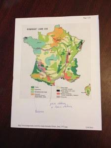 Mapa da França com regiões agrícolas