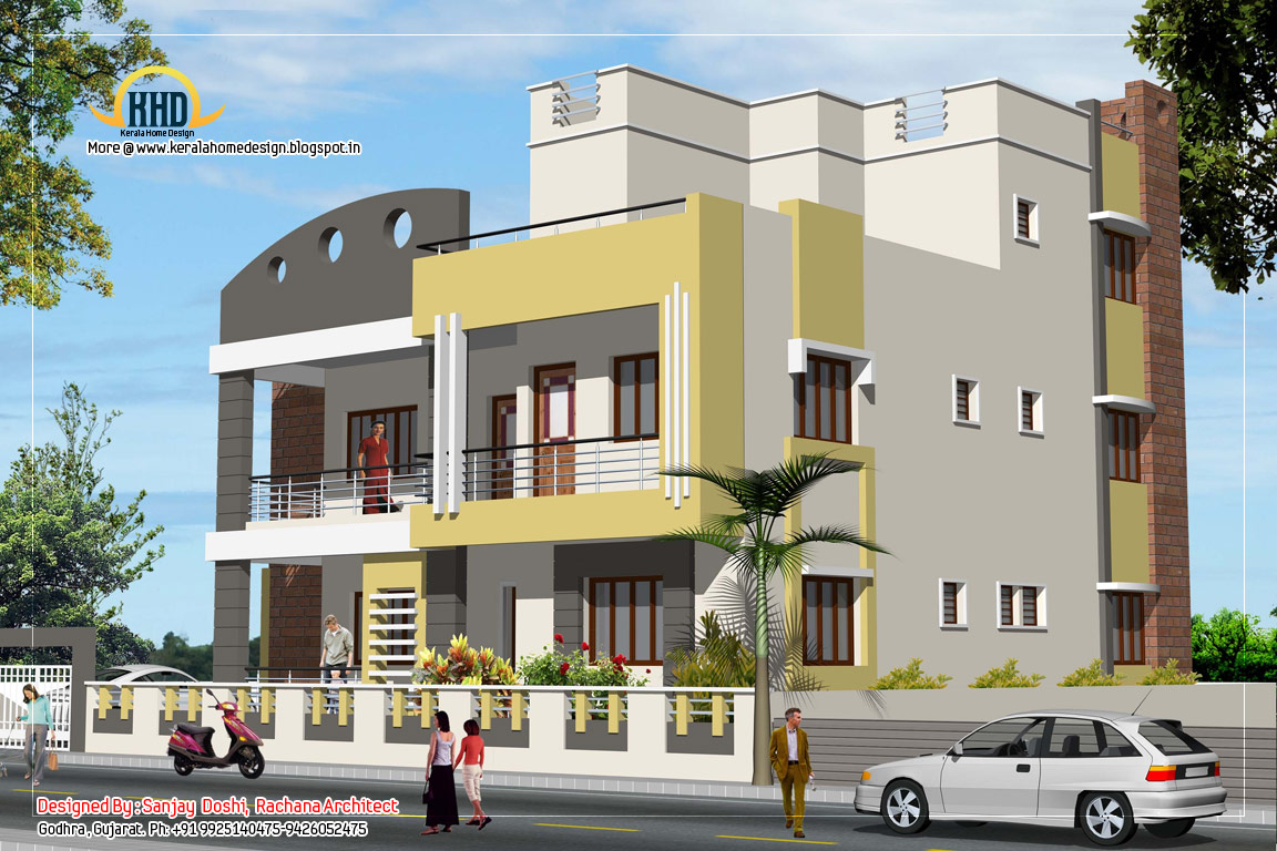 3 story house plan and elevation 3521 sq ft kerala for House elevation for three floors building