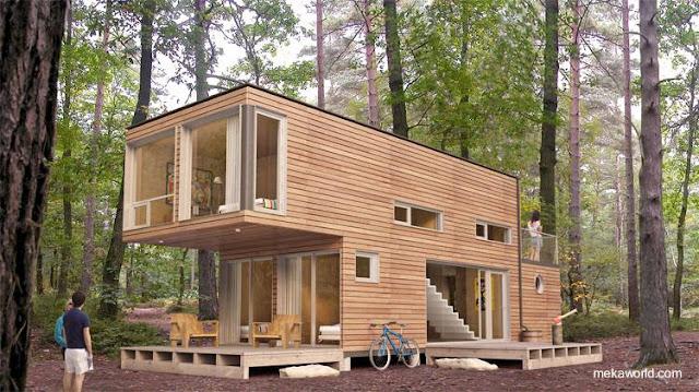 Casa cabaña modular hecha de contenedores reutilizados y cubierta de madera producida en Canadá