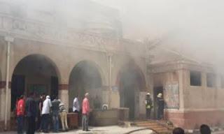 حريق داخل دير القديسة دميانة بالدقهلية