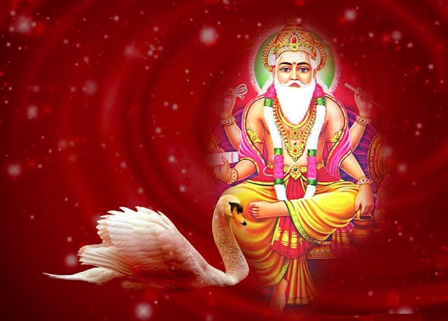 Lord Brahma HD Wallpaper In Red Background