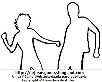 Dibujo de silueta de jóvenes (mujer y hombre) bailando para colorear, pintar e imprimir. Dibujo por el Día Internacional de la Juventud o Día de la Juventud hecho por Jesus Gómez