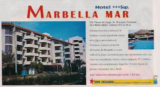 folleto anunciando hotel marbellamar pampatar, isla margarita, venezuela, vuelta al mundo, asun y ricardo, round the world, informacion viajes, consejos, fotos, guia, diario, excursiones