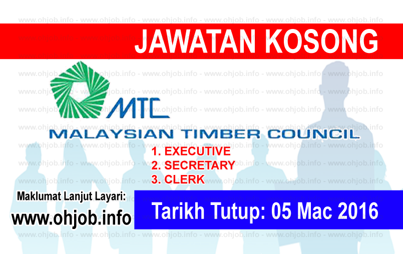 Jawatan Kerja Kosong Majlis Perkayuan Malaysia (MTC) logo www.ohjob.info mac 2016