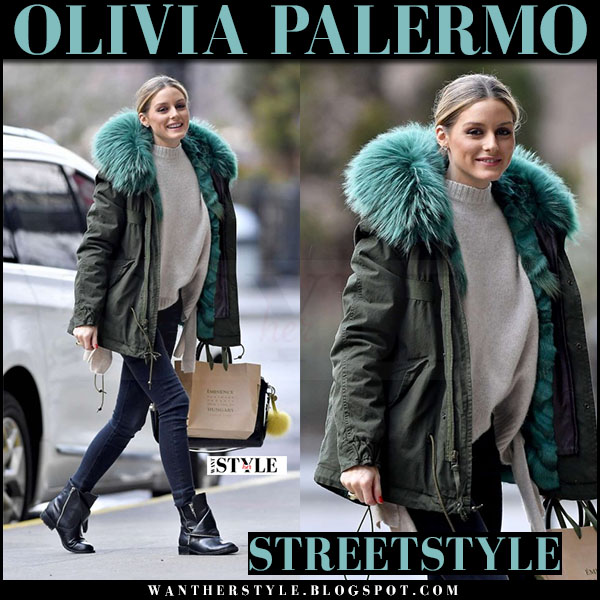 Olivia Palermo in green canvas jacket with green fur lining mr and mrs italy and black ankle boots dolce vita sera what she wore streetstyle 2017