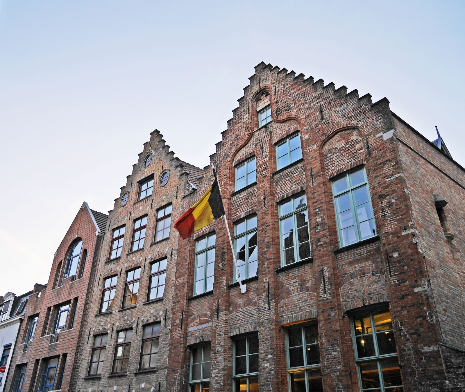 Belgian flag in Bruges city centre