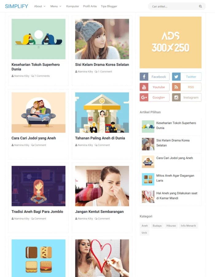 Simplify Fast Loading Blogger Templates