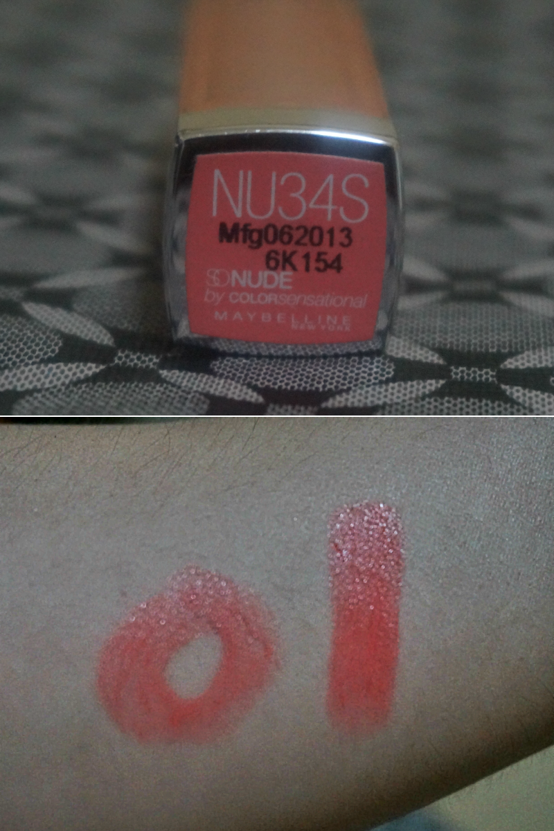 Swatch:  Maybelline SoNude Color Sensational Lipstick in Rosy Rebel (NU34S)
