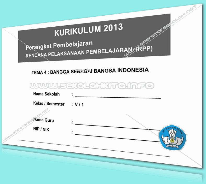 RPP Kurikulum 2013 SD KELAS 5 SEMESTER 1 Tema Bangga Sebagai Bangsa Indonesia Lengkap Per Subtema Revisi 2016