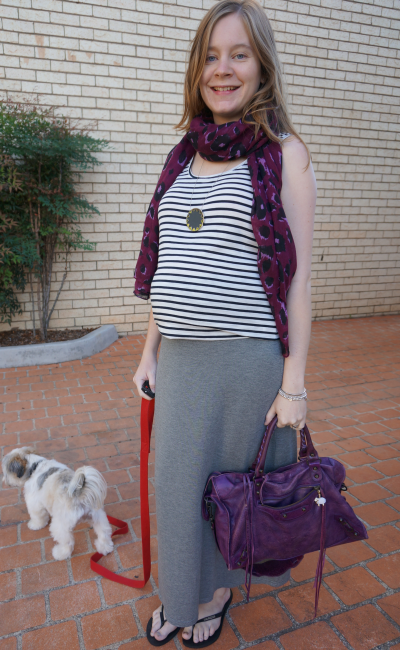 away from blue casual stripe tank purple scarf print mixing grey maxi skirt
