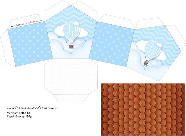 Volando en Celeste: Caja con Forma de Casa para Descargar Gratis.
