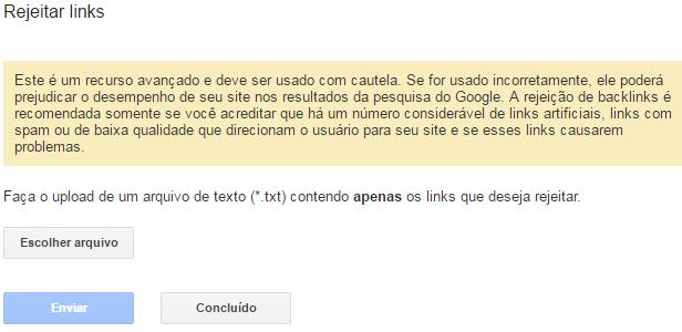 Rejeitar links spam recuperar tráfego de loja virtual