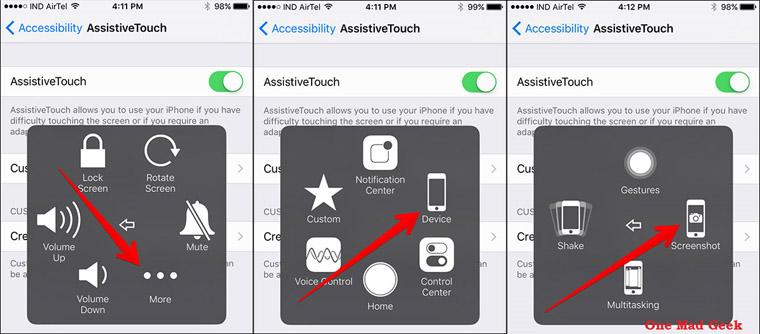 Cara screenshot di hp iPhone menggunakan AssistiveTouch