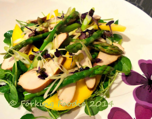 Tea-Smoked Chicken, Mango and Asparagus Salad with a Toasted Sesame and Soy Dressing