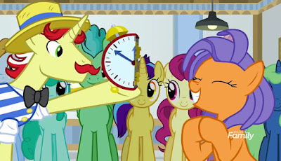 Flam shows half a clock to a thrilled-looking orange mare