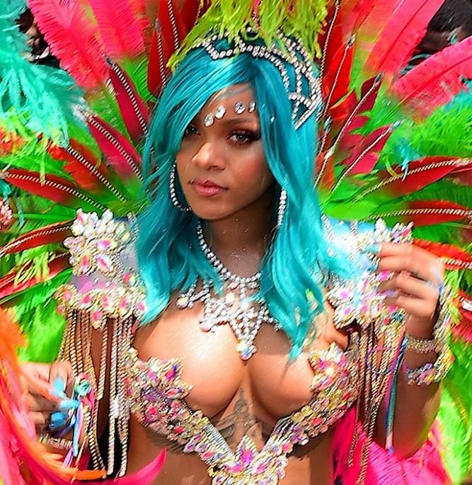 Rihanna in bikini and blue hair at Barbados Carnival