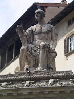 Bandinelli's statue of Giovanne dalle Bande Nere dominates Piazza San Lorenzo