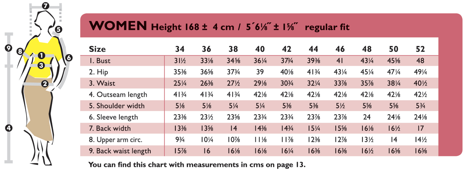 The OTTOBRE design Blog Women39s size chart in inches