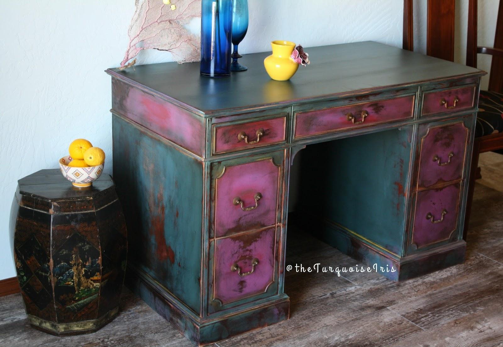 Furniture & Art: Hand Painted Magenta