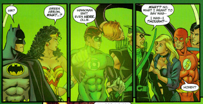 panel from JLA/Avengers #3 (2003). Property of DC comics and Marvel comics.