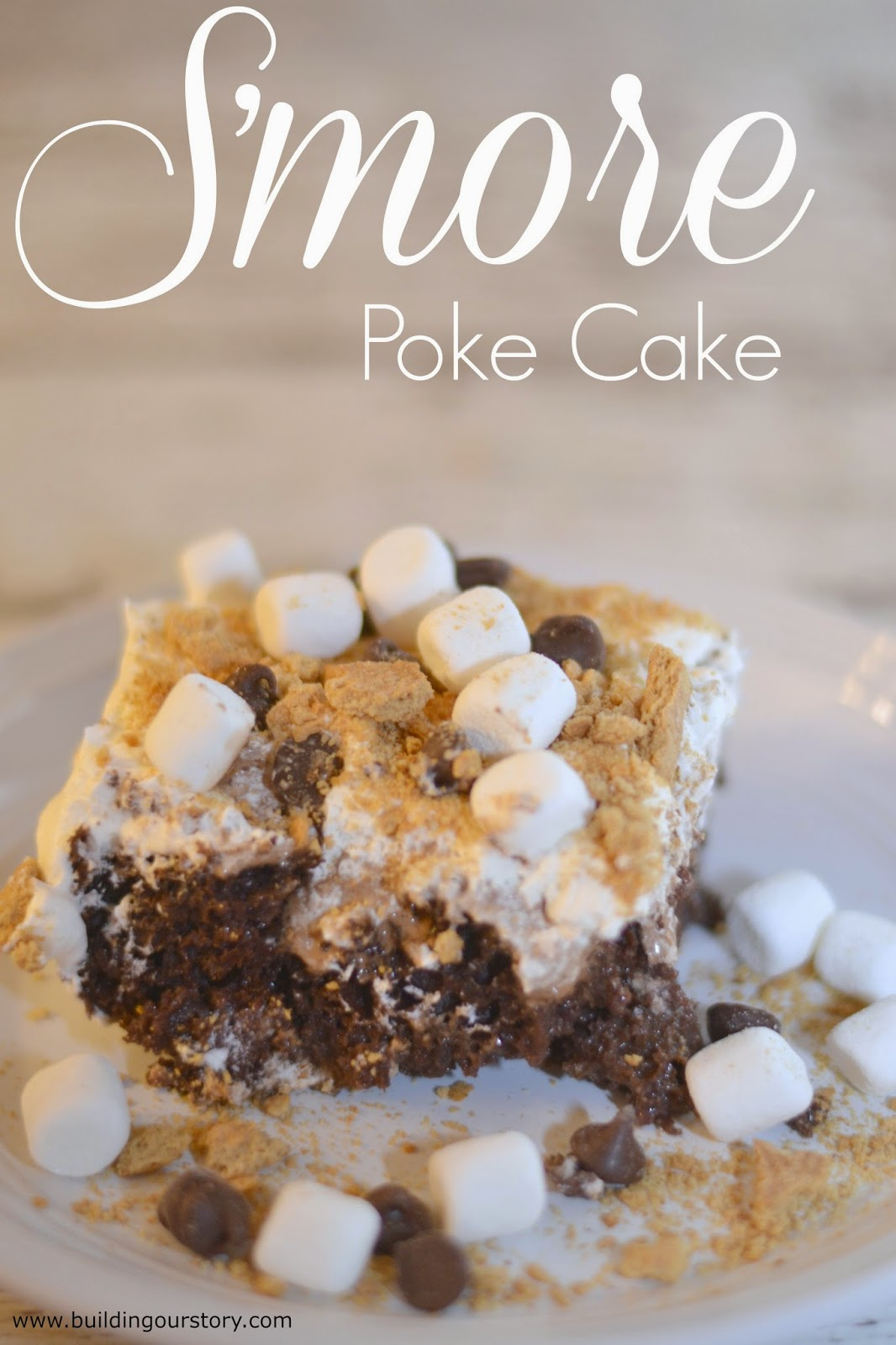 TruMoo Chocolate Marshmallow S'more Poke Cake #Recipe.  S'mores Poke Cake.  Smores cake.  Baking with milk.  Chocolate milk cake.  S'mores desserts.  Smores Desserts.  Poke cake recipes.  Smores poke cake recipe.