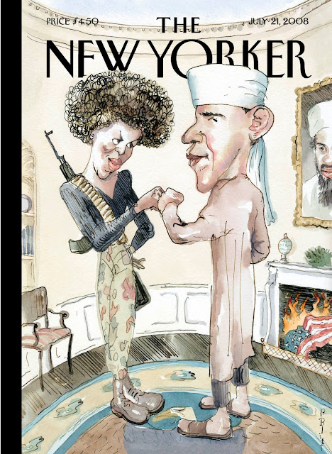 """Terrorist Fist Jab"" cover by Barry Blitt for The New Yorker (July 28, 2008)"